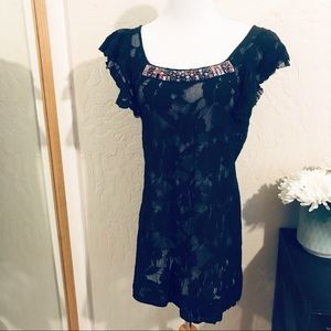 Free people black lace dress with beading. Size M